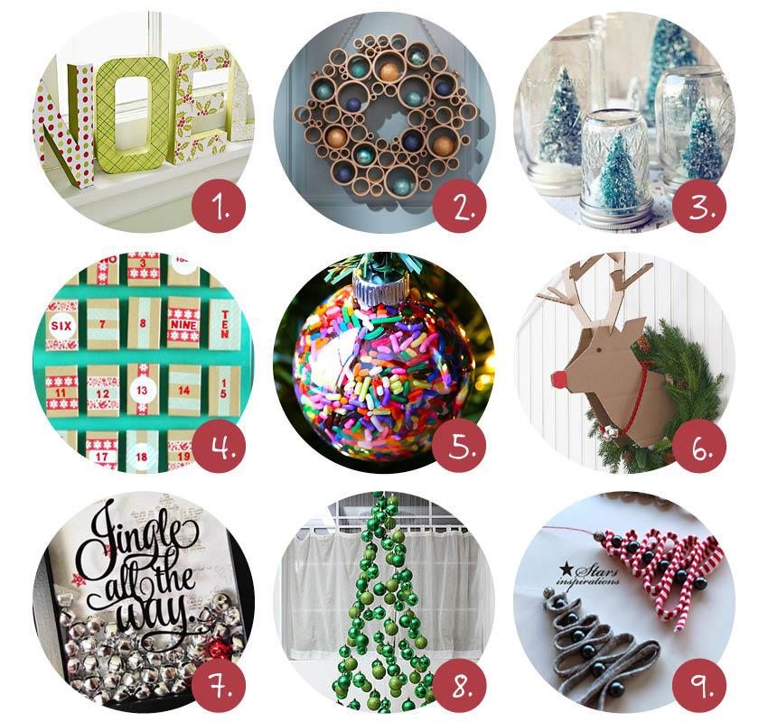 9x goedkope DIY kerstdecoraties
