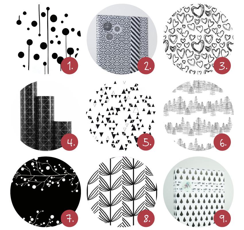 Zwart/wit inpakpapier