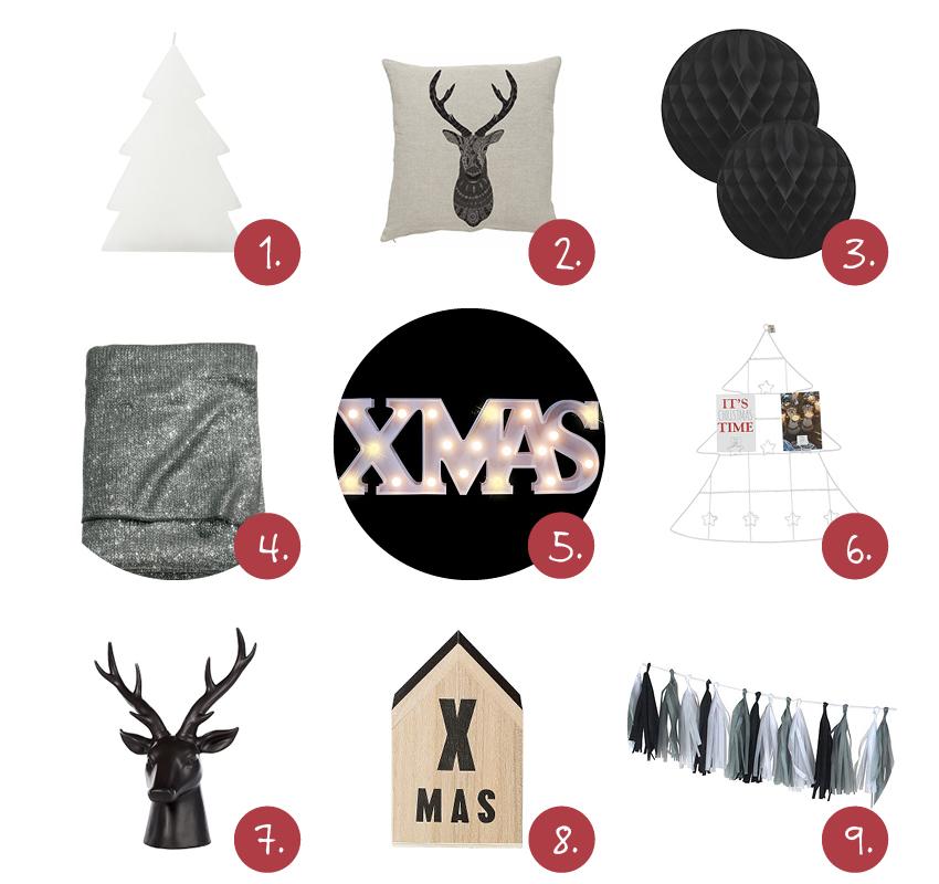 Zwart/wit kerstdecoraties