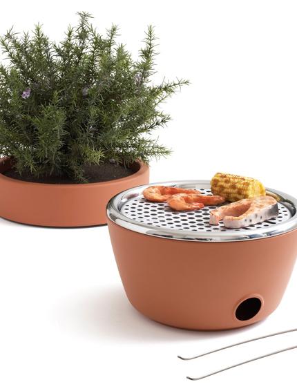 Bloempot barbecue