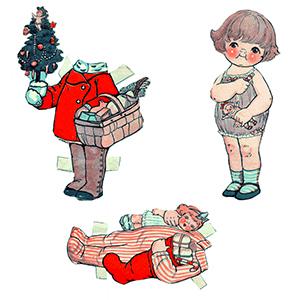 Gratis printables voor kerst:aankleedpoppen