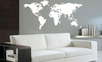 Wereldkaart muur staal