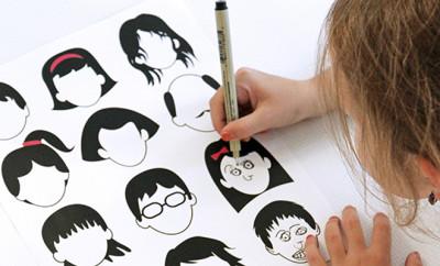 gezichten tekenen, gratis kleurplaten