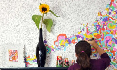 Inkleurbehang, kleuren voor volwassenen