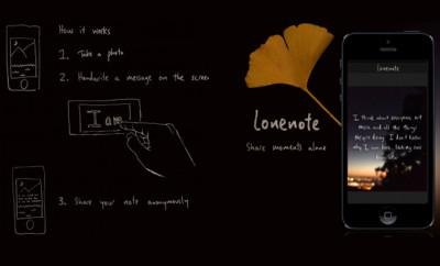 Lonenote: anonieme foto-app